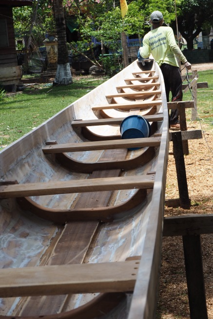 Boat construction at a Vat in Champasak