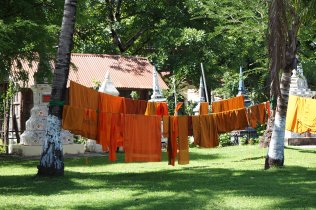 Monks dress drying in the sun