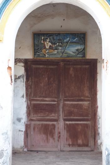 Door to the library at Vat Muang Kang