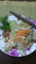 Pad thai with bean sprouts, bean curd and peanuts