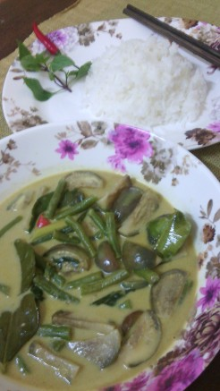 Green curry with steamed rice