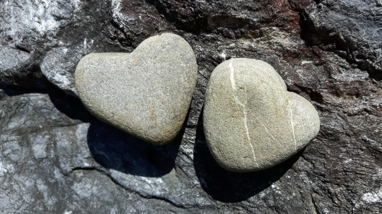 Heart-shaped stones